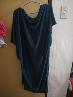 Moss green dress with side slit