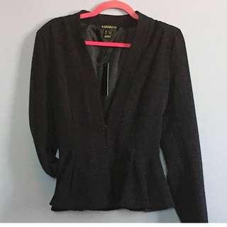1930's Inspired Noir Peplum Blazer XL (Fits like L)