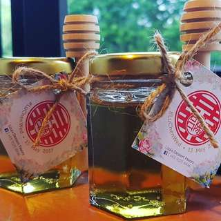 NEW! Honey Jar + Honey Dipper + Tags/Sticker + Twine - Wedding Favors/Door Gift