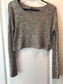 open back long sleeve salt and pepper sweater