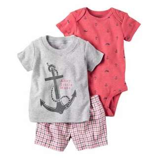 Brand new  2-6mths baby carters romper shirt and shorts set baby newborn children clothes ahoy little mate anchor