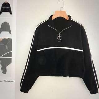 Zip Front Crop Sweatshirt