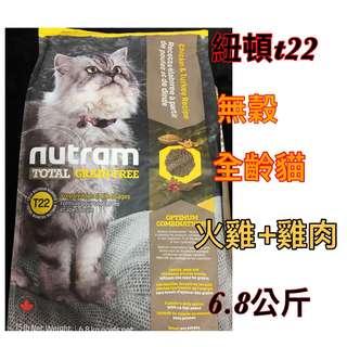 紐頓T22 無穀貓糧 火雞+雞肉 6.8公斤