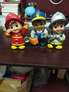 消防公仔存錢筒3個