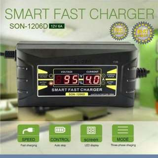 Car Battery Charger – 12v Fast Charger w/LCD Display – Motorcycle/Car
