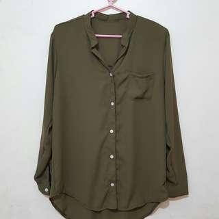 Green Long Sleeves Buttondown Polo