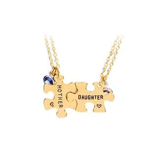 Mother And Daughter Engraved Puzzle Piece Necklaces (2 Piece) With Rose Quartz Pendant Stone (Daughter) And Chalcedony Blue And Green Stones (Mother) For Mother's Day