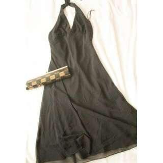 Black Halter Backless Dress