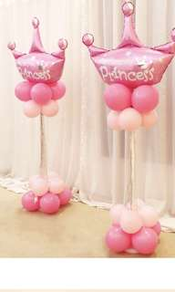 Princess foil balloon party stand