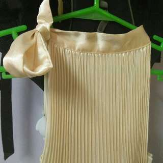 Pleated Off White Dress