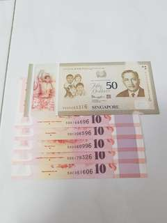 Gurranteed Brand New Mint condition Sg50 Commemorative Notes  with same ending numbers 6 ( Box And Notes Folder Set Not Included) sale