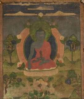 東方不動佛:西藏老唐卡,繪在緙絲上,已裝裱好,鑲在鏡框内。高×濶=13×10吋