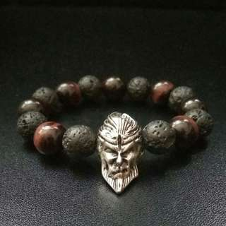 Monkey King Bracelet, 10mm Red Tiger Eye Lava Rock Bracelet, Men's Bracelet