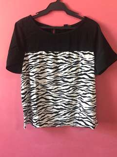 Forever 21 Short Sleeved T-Shirt with Zebra Print