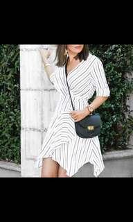Sheike white b&w striped wrap dress size 6