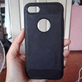 Original Spigen Iphone 7 Black Rubber Military Grade Case
