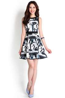 Pursuit Of Happiness Dress In Black Abstract
