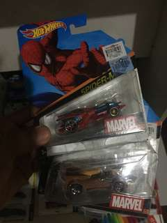Hot wheels character cars spiderman and wolverine