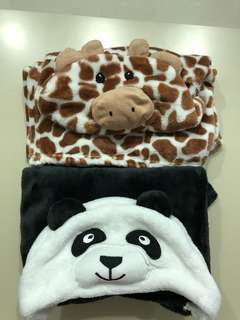 Fleece cute animal Hoodies blankets