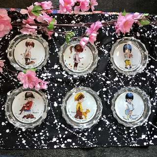 三對全新古董玻璃碟,情侶,甜品蛋糕雪糕,溫馨英文 3 pairs new couples dessert dishes glass plates