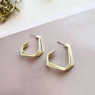 🚚 線條幾何耳環