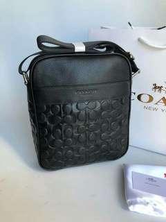 Coach Mens F71819 Black Signature Leather Shoulder Crossbody Flight Bag