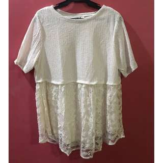 Cream Dress Shirt with Lace Bottom