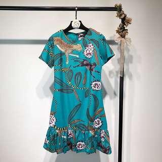 Zaraa inspired Printed drop waist ruffle hem Dress