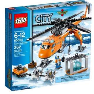 Lego City 60034 Arctic Helicrane with huskies dogs Helicopter
