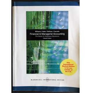 Financial & Managerial Accounting - The Basis for Business Decisions - 15th edition