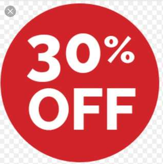 30% OFF ALL ITEMS 😀😆😉😁