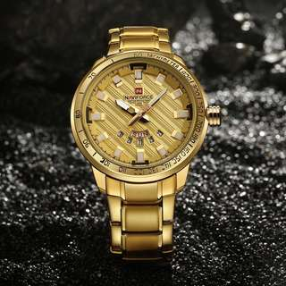 Men's Gold tone stainless steel watch with date indicator
