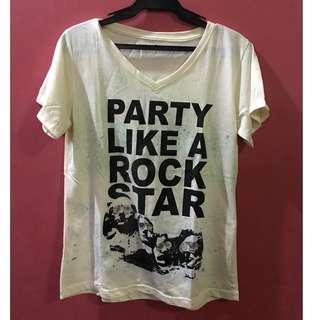 Cream V-Neck Printed T Shirt