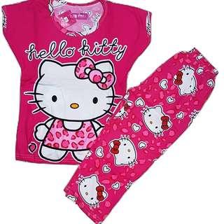 Kitty Terno Pajama For Kids Hot Pink