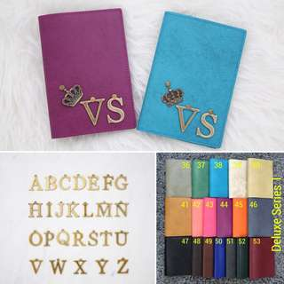 Alphabet Personalised Passport Holder Travel Custom Passport Cover Case with 1 Alphabet Charm-Add Alphabet charm $1.50, Other Charm $1 each. FREE SHIPPING