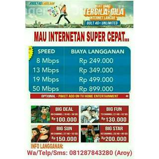 Wifi internet bolthome unlimited tanpa batasan kouta