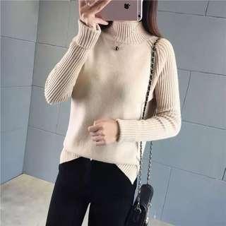 🚚 -=🉐新春新款韓版寬鬆套頭毛線針織半高領毛衣✨