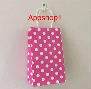Polka dot paper bag- goodies bag carrier, event door gift carrier, goody bag packages