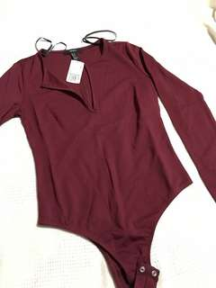 F21 Burgundy Bodysuit