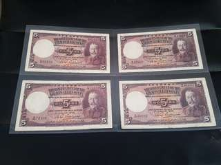 Singapore Straits Settlements bank notes $5