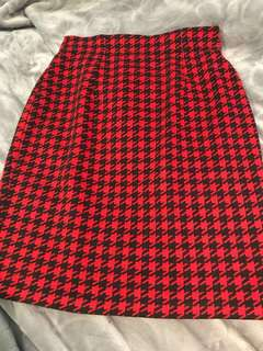 Red and black tight skirt. Size 10