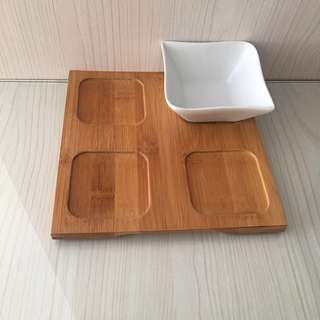 Wooden Tray with 1 bowl
