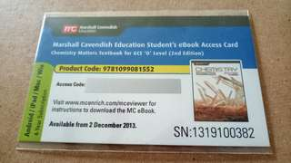 Marshall Cavendish Chemistry Matters Student's eBook Access Card