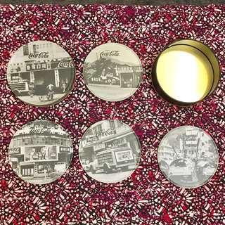 全新古董懷舊可口可樂杯墊,水松底,鋼面,原裝鉄盒 老香港照片,年份地點有列明new antique cola cup mat ,steel with old Hong Kong photos,cola