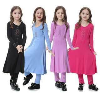 Muslim Girl Diamond Embroidery Jubah Baju Kurung Long Dresses