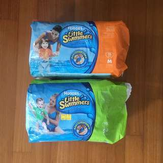 Swim diapers sized S and M