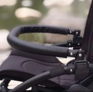 Bugaboo compatible pvc leather front handle stroller bar with free stroller handle protector accessory (bugaboo bee 3)