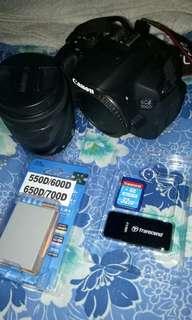 Canon700D. Memory 32gb transcend(wifi)+batery