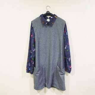 Printed Sleeves Gray Maine Dress