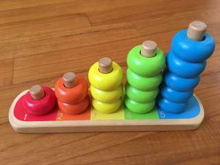 A original Toys R Us wooden counting stacker for kids infants toddlers child children toys